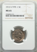 Buffalo Nickels, 1913-S 5C Type One MS65 NGC. NGC Census: (226/84). PCGS Population: (424/260). CDN: $675 Whsle. Bid for NGC/PCGS MS65. Mint...