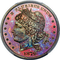 1879 $1 Goloid Metric Dollar, Judd-1628, Pollock-1824, Low R.7, PR67+ Red and Brown PCGS....(PCGS# 72006)