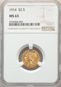 Indian Quarter Eagles: , 1914 $2 1/2 MS63 NGC. NGC Census: (856/448). PCGS Population: (691/544). CDN: $1,600 Whsle. Bid for NGC/PCGS MS63. Mintage ...