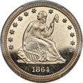Patterns, 1864 25C Quarter Dollar, Judd-389, Pollock-457, R.8, PR65+...