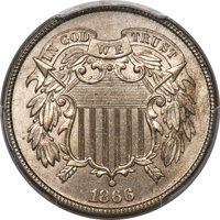 1866 2C Two Cent, Judd-459, Pollock-533, High R.7, MS66+ PCGS. CAC....(PCGS# 60654)