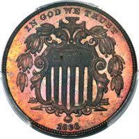 1866 5C Five Cents, Judd-510, Pollock-594, R.8, PR64+ Red and Brown PCGS....(PCGS# 70707)