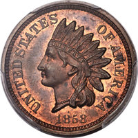 1858 1C Indian Cent, Judd-210, Pollock-260, R.8, PR64 Red and Brown PCGS. CAC...(PCGS# 535159)