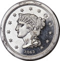 Patterns, 1863 3C Three Cents, Judd-320, Pollock-385, High R.7, PR65+ Cameo PCGS. CAC...