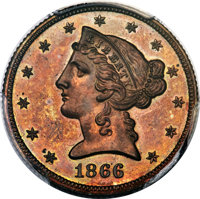 1866 $5 Half Eagle, Judd-546, Pollock-610, High R.7, PR65 Red and Brown PCGS....(PCGS# 70744)