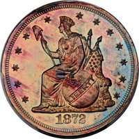1872 $1 Commercial Dollar, Judd-1217, Pollock-1358, High R.7, PR66+ Red and Brown PCGS. CAC....(PCGS# 71488)