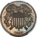 Patterns, 1864 2C Small Motto Two Cent, Judd-366, Pollock-433, High R.7, PR66 Red and Brown PCGS....