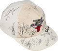 Basketball Collectibles:Balls, 1990-91 Chicago Bulls Team Signed Cap with Michael Jordan, Phil Jackson & Jerry Krause....