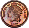 Patterns, 1867 5C Five Cents, Judd-564, Pollock-625, High R.7, PR66 Red and Brown PCGS. CAC....