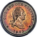 Patterns, 1863 2C Two Cent, Judd-309, Pollock-374, Baker-38, Musante GW-671, R.8, PR64 Red and Brown PCGS....