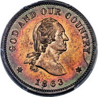 1863 2C Two Cent, Judd-309, Pollock-374, Baker-38, Musante GW-671, R.8, PR64 Red and Brown PCGS....(PCGS# 535204)