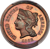 1868 5C Five Cents, Judd-626, Pollock-695, High R.7, PR64+ Red and Brown PCGS....(PCGS# 70843)