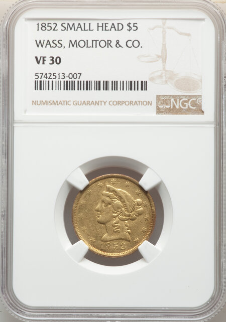 1852 Wass Molitor, Small Head, MS 30 NGC