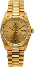 Timepieces:Wristwatch, Rolex, President Day-Date, Diamond Dial, 18k Gold, Ref. 18038. circa 1979. ...