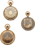 Timepieces:Pocket (pre 1900) , Three 14k Gold Hunters Case Watches, Two 6 Size, One 8 Size. ... (Total: 3 Items)