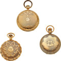 Timepieces:Pocket (pre 1900) , Three 14k Gold Hunters, 10 Size Elgin Dexter St., Two 6 Size Waltham's. ... (Total: 3 Items)