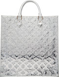 """Luxury Accessories:Bags, Louis Vuitton Limited Edition Metallic Silver Monogram Vernis Leather Miroir Sac Plat Tote Bag. Condition: 2. 14"""" Widt..."""