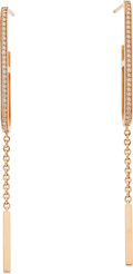 """Luxury Accessories:Accessories, Hermès 18K Rose Gold & Diamond Ever Chaine d'Ancre Earrings. Condition: 1. 3.75"""" Length . ..."""