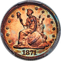 1871 H10C Standard Silver Half Dime, Judd-1066, Pollock-1201, Low R.7, PR66+ Red and Brown PCGS....(PCGS# 71325)