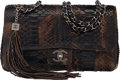 """Luxury Accessories:Bags, Chanel Metallic Brown Python Medium Flap Bag with Ruthenium Hardware. Condition: 3. 11"""" Width x 6"""" Height x 4"""" Depth..."""