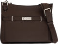 """Luxury Accessories:Bags, Hermès 34cm Terre Clemence Leather Jypsiere Bag with Palladium Hardware. L Square, 2008. Condition: 3. 13"""" Width x..."""