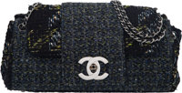 "Chanel Black and Navy Tweed Fantasy Flap Bag with Gunmetal Hardware Condition: 2 11"" Width x 7"""