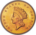 Gold Dollars, 1855-O G$1 MS64 PCGS. Variety 1. Ex: Simpson. The ...