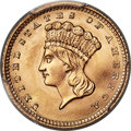 Gold Dollars, 1858 G$1 MS68 PCGS. CAC. Ex: Simpson. The 1858 gol...
