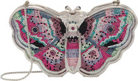 """Judith Leiber Full Bead Pink & Purple Crystal Butterfly Minaudière Condition: 1 6"""" Width x 3.5"""" H..."""