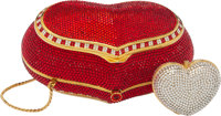 Judith Leiber Set of Two: Full Bead Red Crystal Heart Minaudière and Heart Pillbox Condition: 2 S