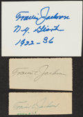 Autographs:Index Cards, Travis Jackson Signed Cuts, Lot of 3....