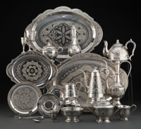 A Sixty-Two Piece Middle Eastern Bright Cut and Niello Silver Dessert Service 10 x 6-3/4 x 4 inches (25.4 x 17.1 x