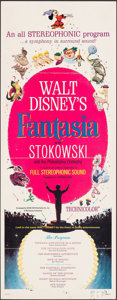 "Movie Posters:Animation, Fantasia (Buena Vista, R-1963). Folded, Fine/Very Fine. Insert (14"" X 36""). Animation.. ..."