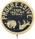 """Political:Pinback Buttons (1896-present), Theodore Roosevelt: 1912 """"Thou Shall Not Steal"""" Cartoon Pin. ..."""