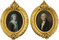Political:3D & Other Display (pre-1896), George & Martha Washington: Pair of Ornately Framed Prints.... (Total: 2 Items)