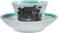 Political:3D & Other Display (pre-1896), William Henry Harrison: Strawberry Luster Cup & Saucer.... (Total: 2 Items)