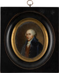 Political:3D & Other Display (pre-1896), John Adams: Miniature Painting Wall Plaque....