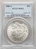 Morgan Dollars: , 1885-S $1 MS63 PCGS. PCGS Population: (3549/3488). NGC Census: (1778/1652). CDN: $330 Whsle. Bid for NGC/PCGS MS63. Mintage...