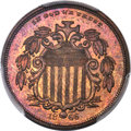 1866 5C Shield Five Cents, Judd-498, Pollock-584, High R.7, PR65+ Red and Brown PCGS....(PCGS# 70694)