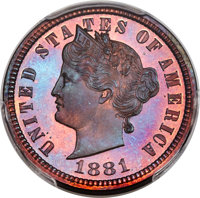 1881 5C Liberty Head Five Cents, Judd-1672, Pollock-1873, R.6-7, PR64 Red and Brown PCGS....(PCGS# 72068)