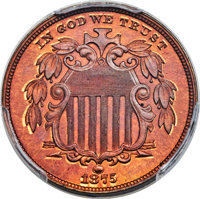 1875 5C Five Cents, Judd-1387, Pollock-1531, R.8, PR66 Red and Brown PCGS. CAC....(PCGS# 71694)