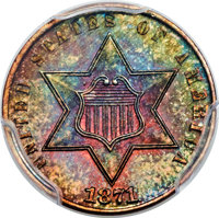1871 3C Three Cent Silver, Judd-1047, Pollock-1181, R.7, PR66+ Red and Brown PCGS. CAC....(PCGS# 71306)