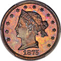 Patterns, 1875 $5 Sailor Head Five Dollar, Judd-1439, Pollock-1582, R.6-7, PR65+ Red and Brown PCGS. CAC....