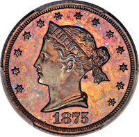 1875 $5 Sailor Head Five Dollar, Judd-1439, Pollock-1582, R.6-7, PR65+ Red and Brown PCGS. CAC....(PCGS# 71746)