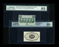 Fractional Currency:First Issue, Fr. 1313SP 50¢ First Issue Narrow Margin Pair PMG Gem Uncirculated64 EPQ and 66 EPQ....