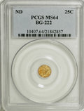 California Fractional Gold: , Undated 25C Liberty Round 25 Cents, BG-222, R.2, MS64 PCGS. PCGSPopulation (98/14). NGC Census: (11/8). (#10407)...