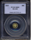 California Fractional Gold: , 1853 50C Liberty Round 50 Cents, BG-428, R.3, MS63 PCGS. ...