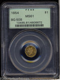 California Fractional Gold: , 1854 $1 Liberty Octagonal 1 Dollar, BG-508, High R.4, MS61 ...