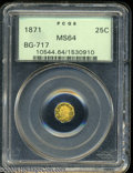 California Fractional Gold: , 1871 25C Liberty Octagonal 25 Cents, BG-717, R.3, MS64 PCGS....