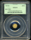 California Fractional Gold: , 1872 25C Indian Octagonal 25 Cents, BG-791, R.3, MS64 PCGS.